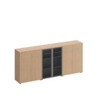 МЕ 338 Шкаф комбинированный средний (закрытый + стекло + закрытый)